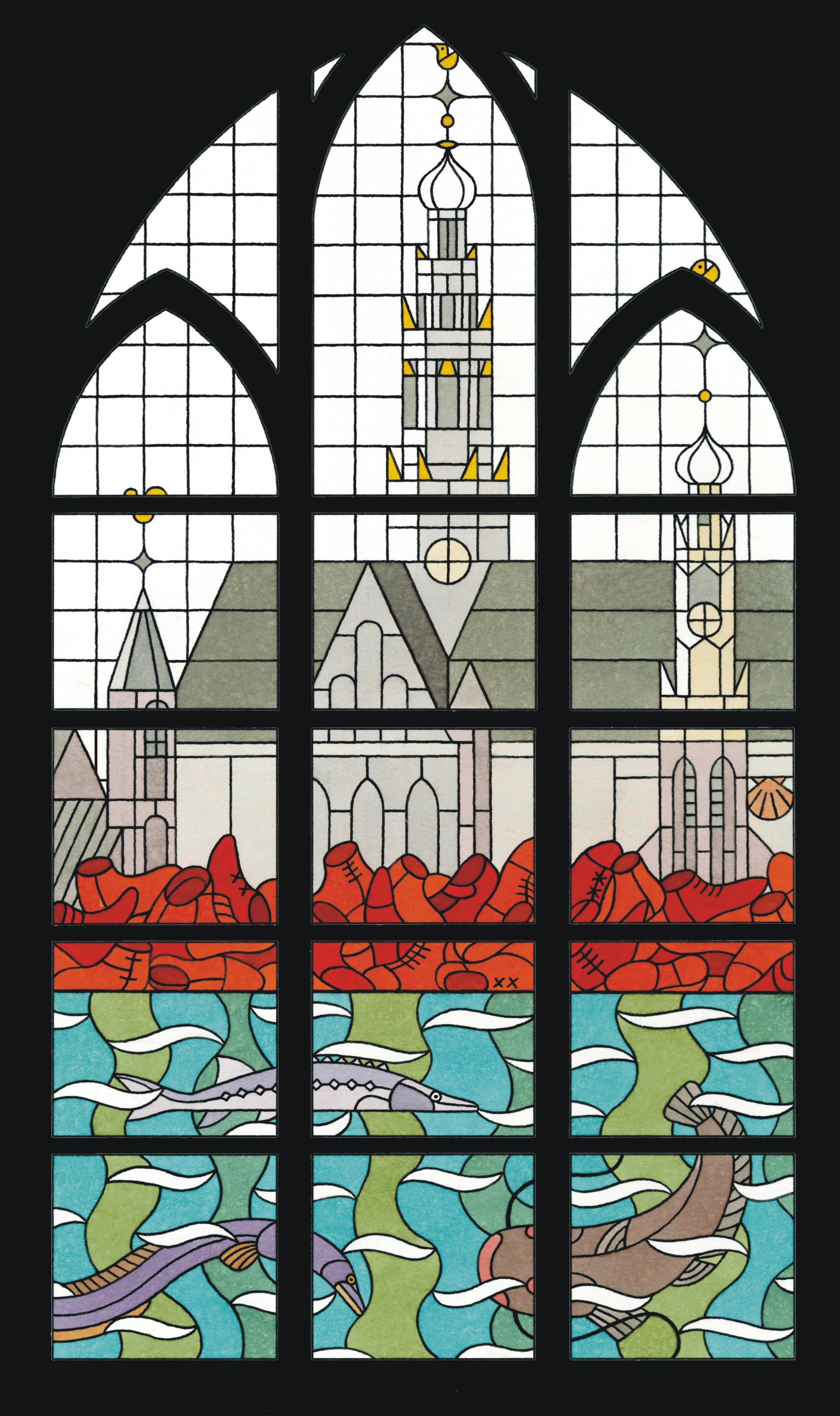 glas in lood ontwerp Joost Swarte bakenesserkerk Haarlem